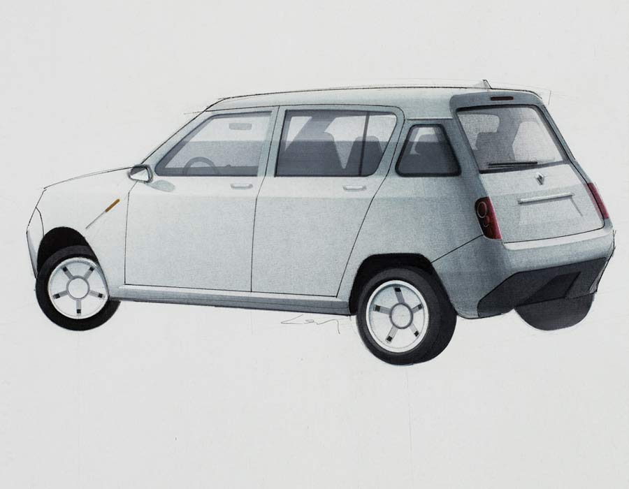 Compact car Renault 4 E white