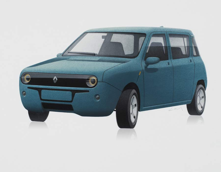 Compact car Renault 4 E turquoise