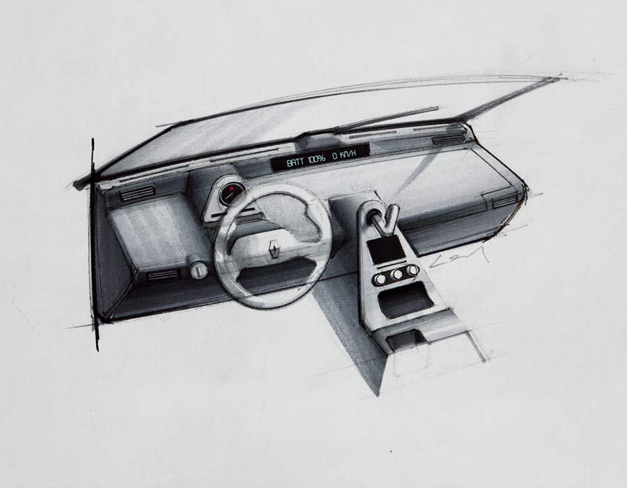 Compact car Renault 4 E drawing detail