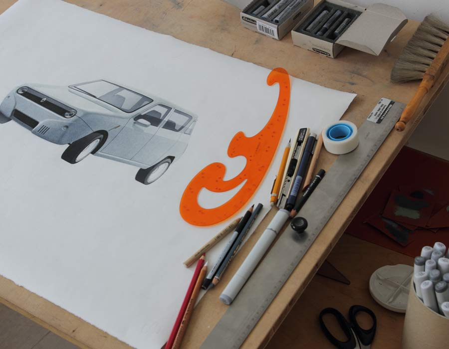 Compact car Renault 4 E drawing