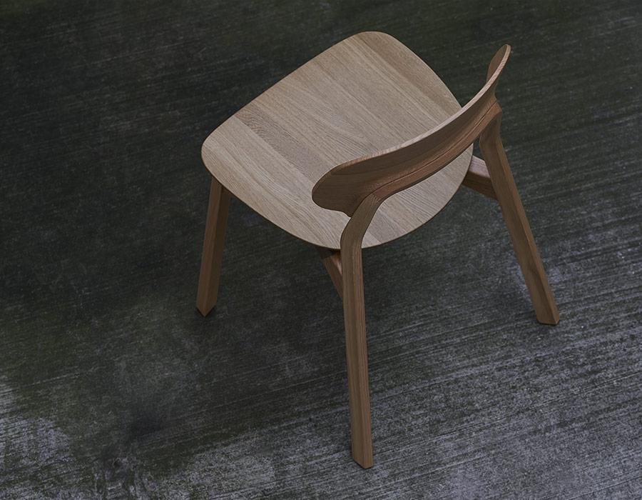 Vollholzstuhl Rückenansicht Eiche Massive Wooden Chair Back View Oak