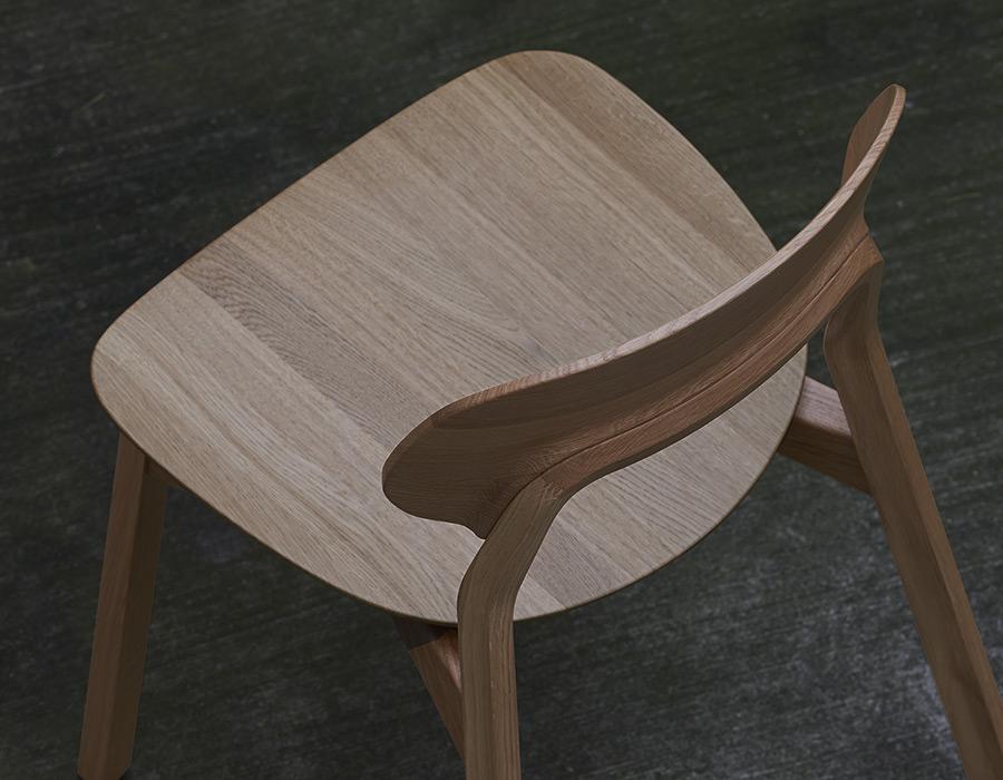 Vollholzstuhl Aufsicht Nah Eiche Massive Wooden Chair Top View Close Oak