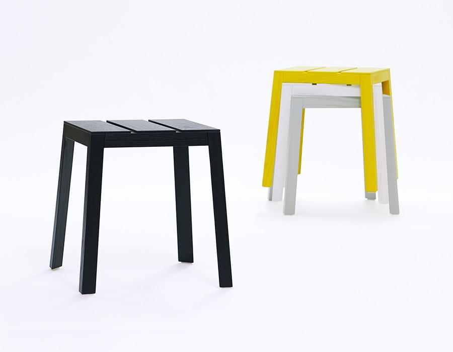 Satsuma Stool, Hocker stapelbar, stackable, gestapelt, Farben grau gelb weiß, colours grey, yellow, white