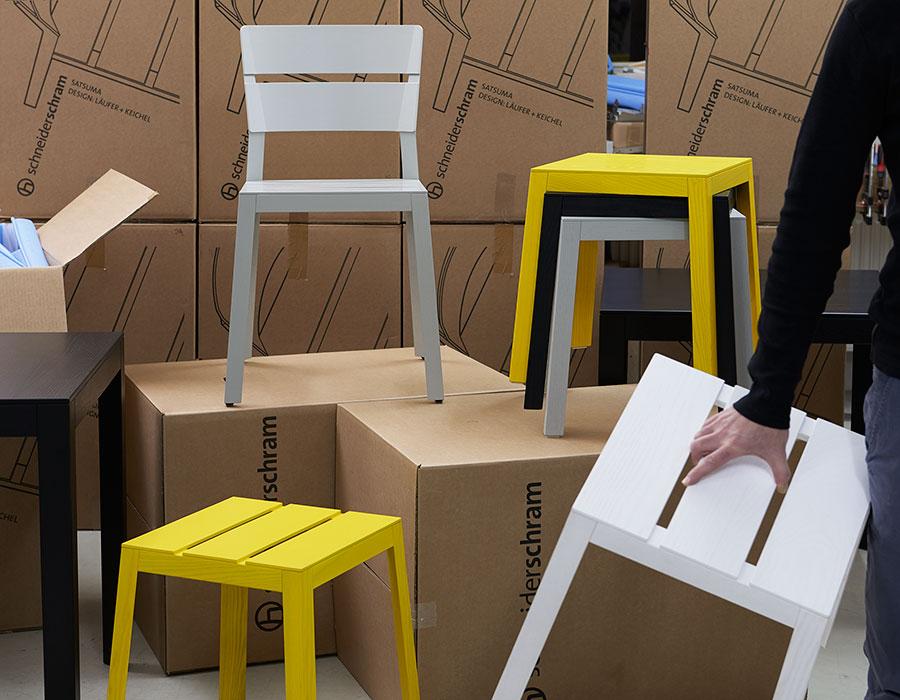 Satsuma chair grey, Stuhl grau, Satsuma stool yellow, black, grey, white, Hocker gelb, schwarz, grau, weiß, stool stackable, Hocker stapelbar