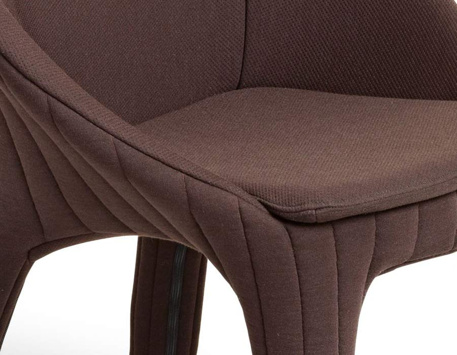 offecct chair coupe brown fabric detail