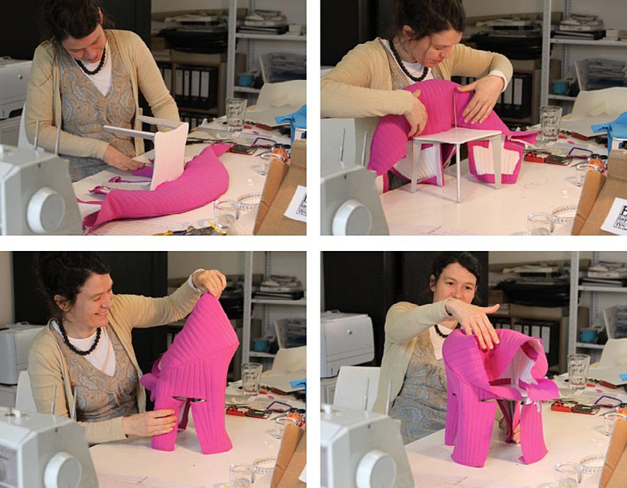 Offecct Coupe easy chair making-of dressing frames Gestelle Bekleiden