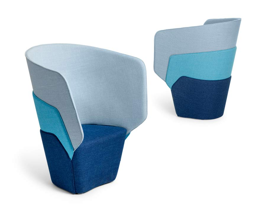 Offecct easy chair Layer - 2 easy chairs in blue, turquoise and grey