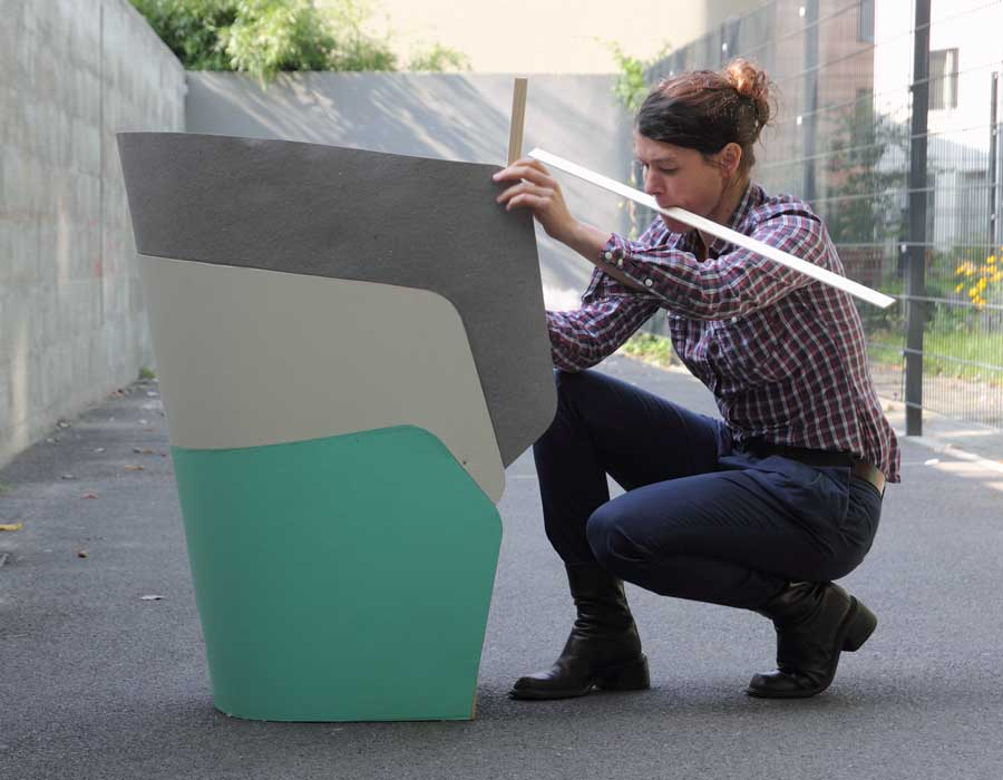 Offecct easy chair Layer - designer Julia Läufer working on the easy chair